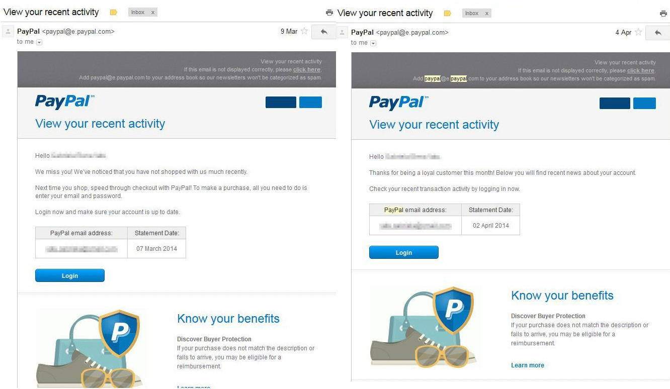 """Recent Activity"""" Phishing Attacks on PayPal, Due to eBay Hack?"""