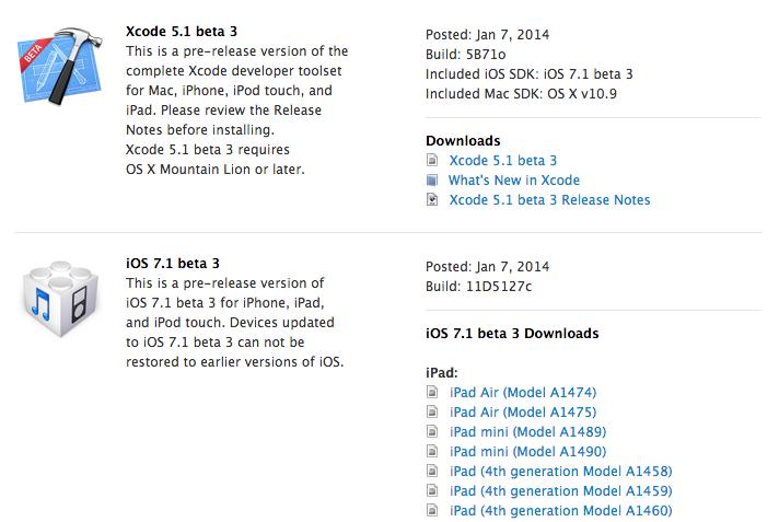 Reminder: iOS 7 1 Beta 3, Xcode 5 1 Beta 3, Apple TV