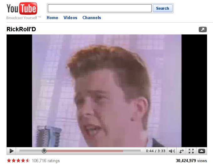 rickrolling dead for several hours