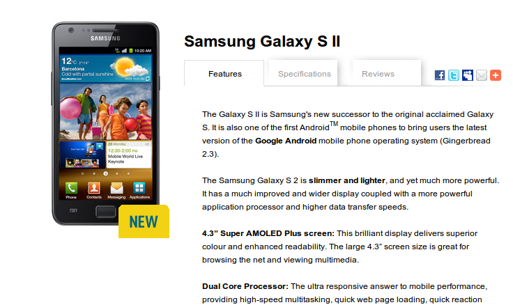 Samsung Galaxy S II Now Available in Australia at Optus