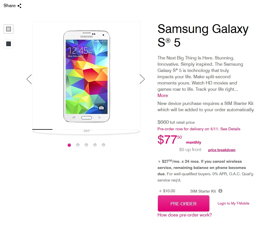 Samsung Galaxy S5 Now on Pre-Order at T-Mobile
