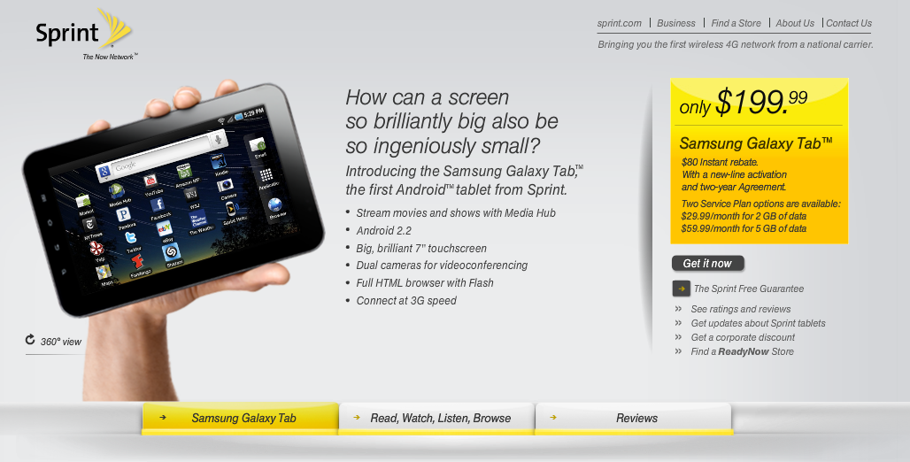 Samsung Galaxy Tab Goes $199 99 at Sprint