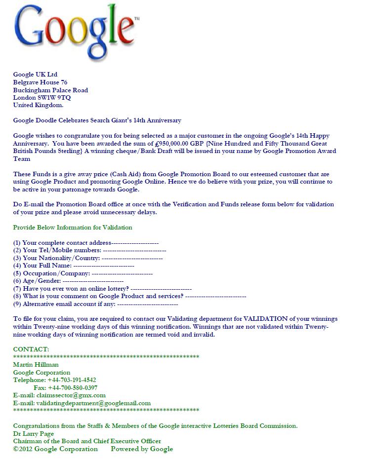 Lotto Gmx scam doodle celebrates search s 14th anniversary