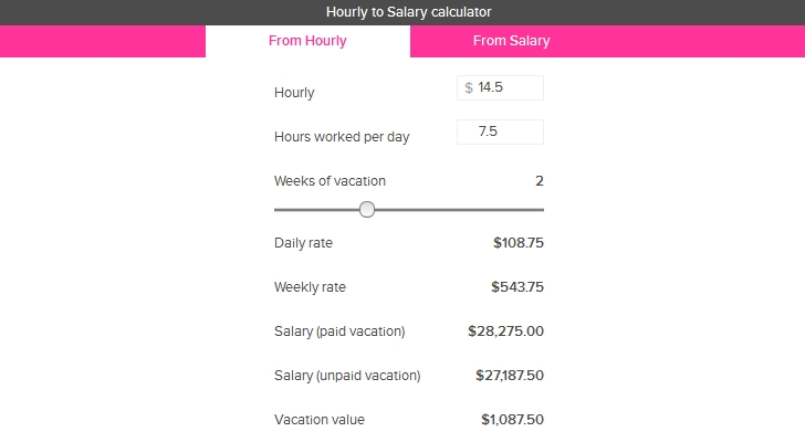script of the day  salary and hourly wage calculator