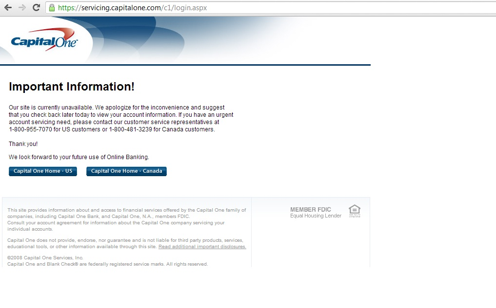 capital one website inaccessible
