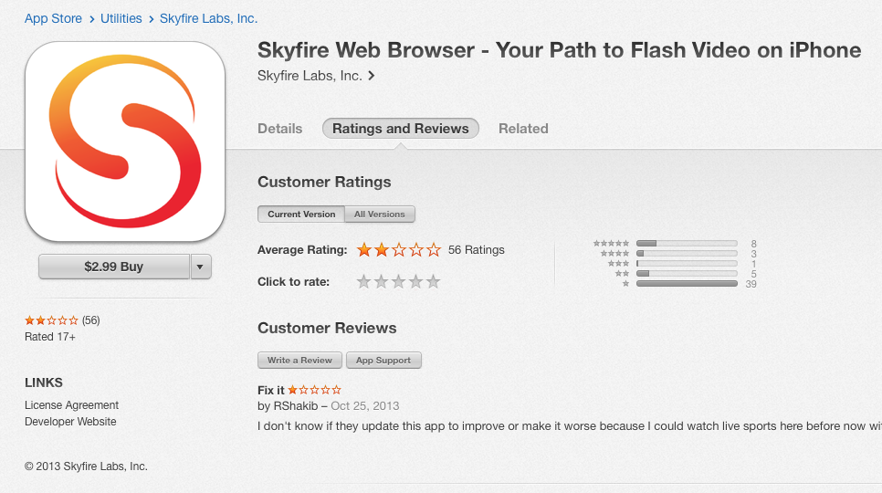 Skyfire iOS 7 Update Messes Up Flash Video Experience on