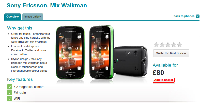 Sony Ericsson Mix Walkman Available for £80 at Vodafone UK