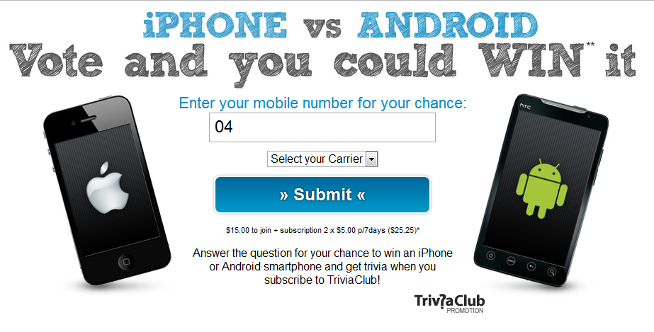"""Sony"""" Subscription Scam: iPhone vs Android, Vote and Win"""