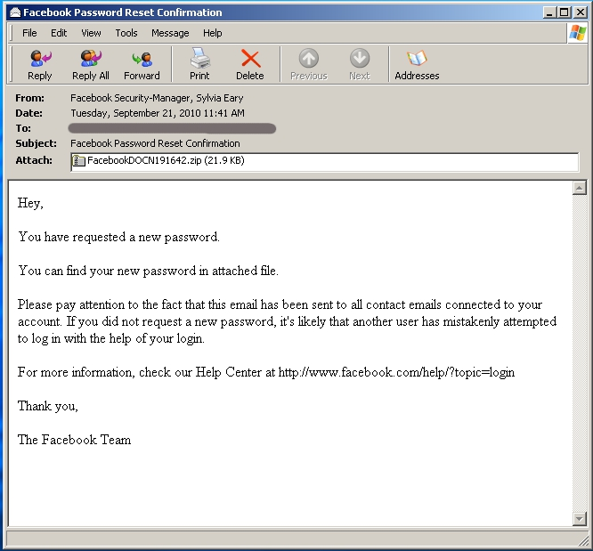 Spammers Impersonate Facebook Staff To Push Trojans