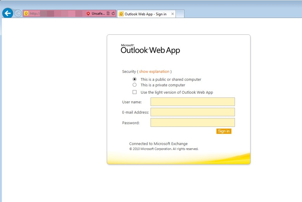 Spear-Fishing Website Hosts Outlook Web App Phishing Page