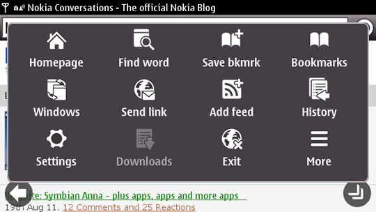 Symbian Anna's Browser and Email Under Scope