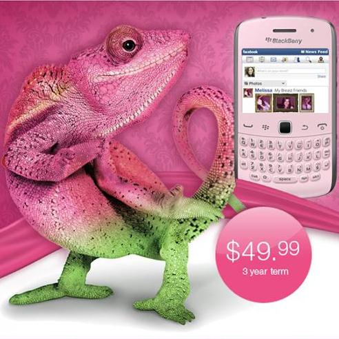 Telus goes pink with blackberry curve 9360.