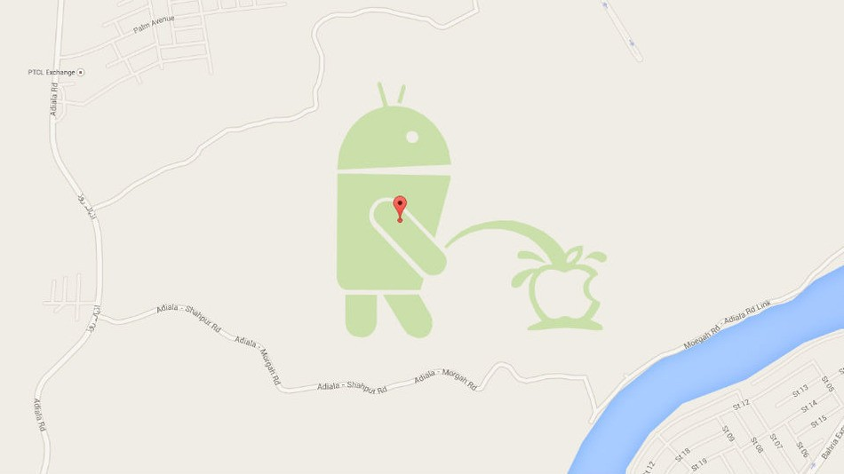 There's an Android Bot Taking a Leak on Apple's Logo in ... on google maps christmas, google maps codes, google maps kfc, google maps funny, google street view easter eggs, google maps dragon, google maps big boy, google maps murder, google pac-man easter egg, google easter egg list, google maps tardis, google maps school, google pirate easter egg, google maps street view, google maps indoor map, google maps secrets, google maps travel, google maps bird's eye view, google earth,