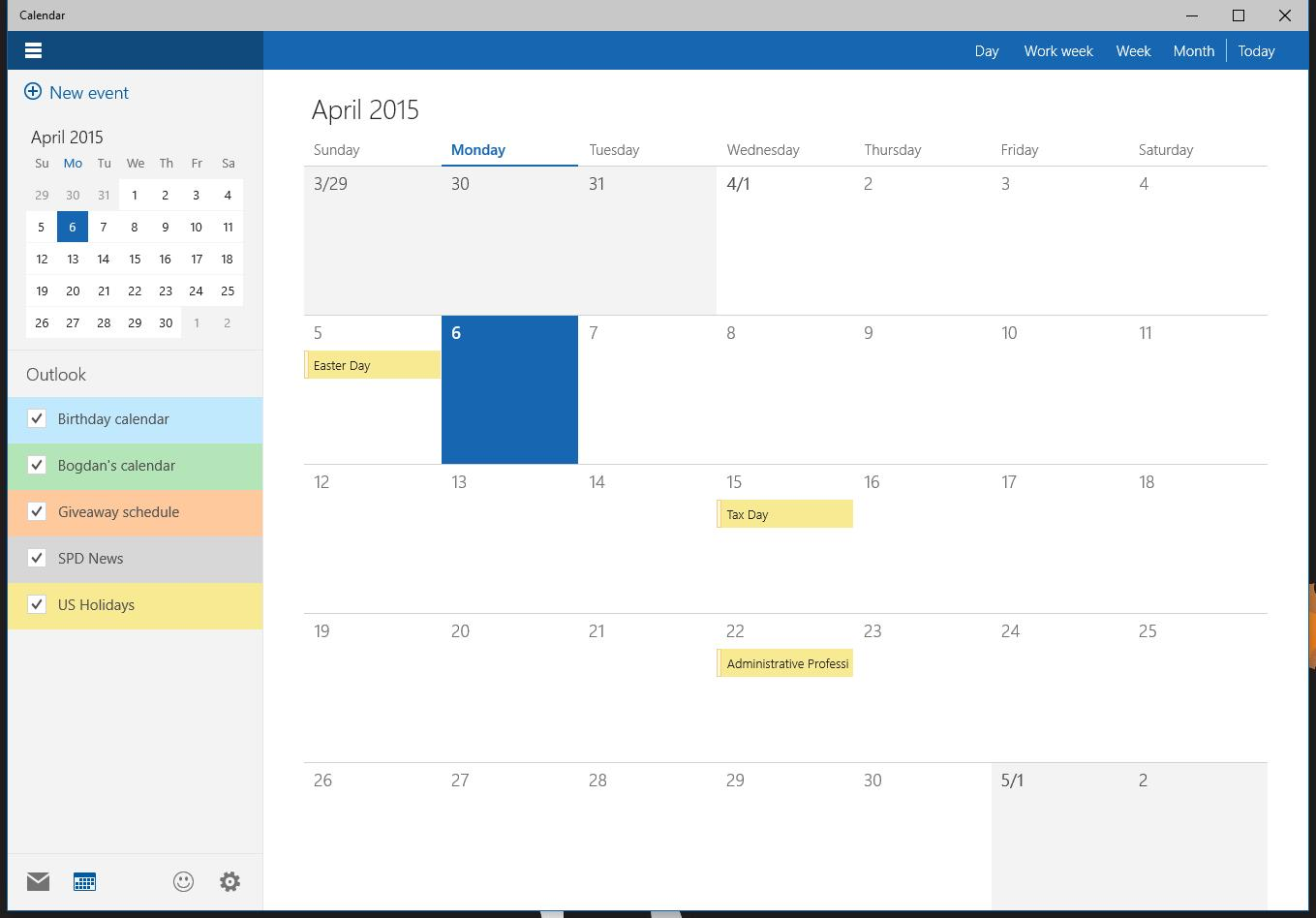 Calendar App : This is the new windows calendar app
