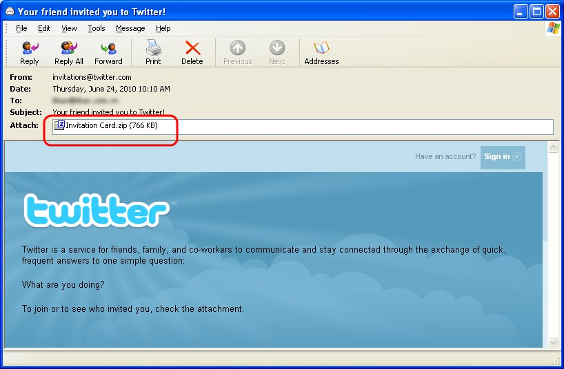 Twitter Invitation Email Scam Spreads Malware Downloader