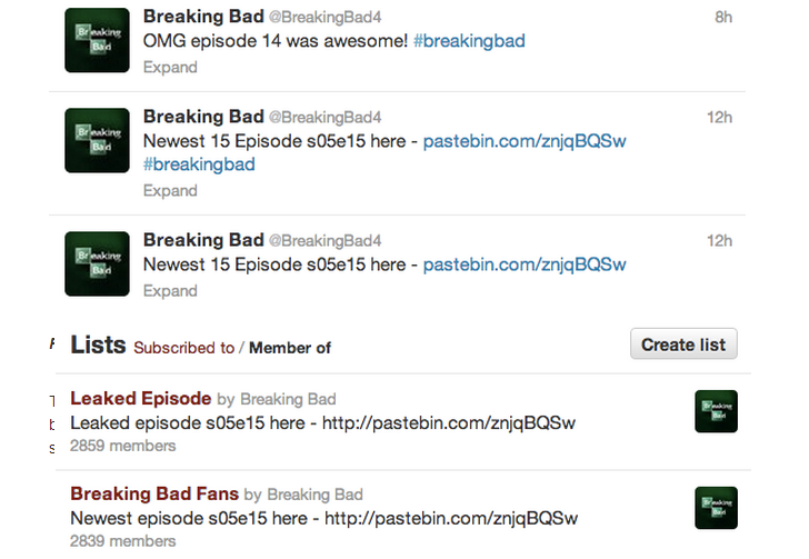 Twitter Spam: Download Breaking Bad S05E16 Leaked Episode