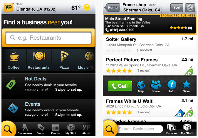 Updated Yellow Pages App Now on iTunes - Free Download