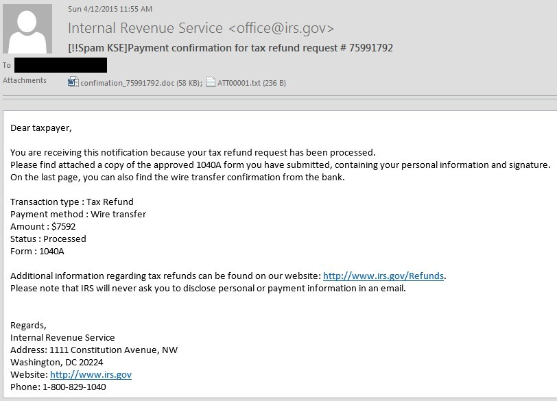 Users In The Us Targeted With Ransomware Via Tax Return Flavored Emails