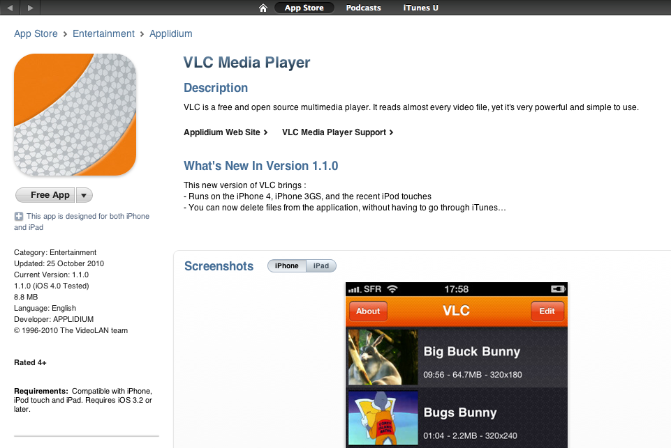VLC Player for iPhone Still Hanging Tight as Free Download on iTunes