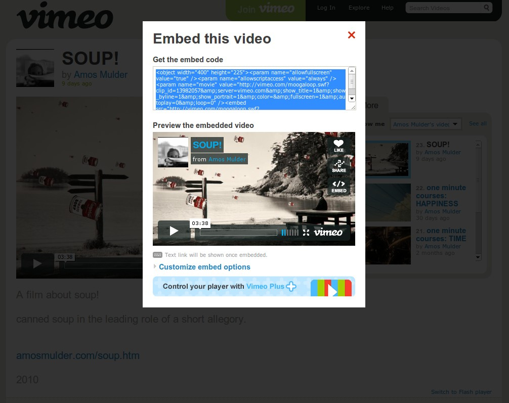 Vimeo Gets an Embeddable HTML5 Video Player