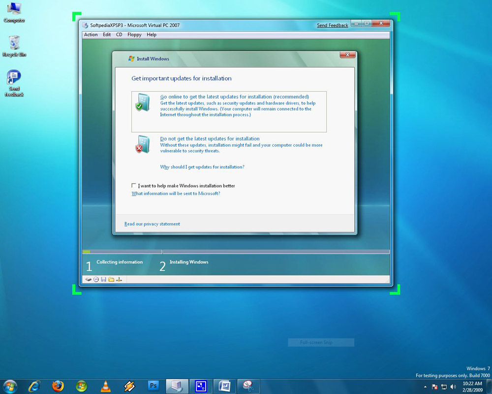 Vista SP1 to Windows 7 Upgrade - XP SP3 to Windows 7 Upgrade