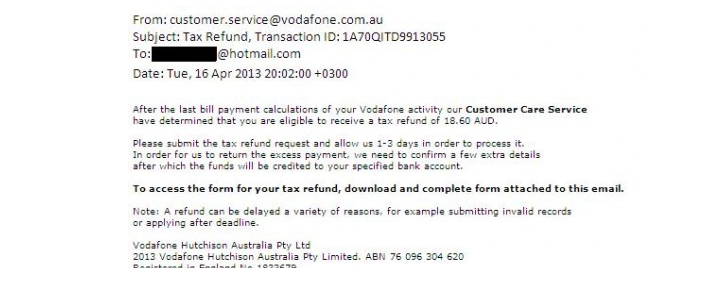 Vodafone australia warns customers of malicious tax refund emails vodafone phishing email thecheapjerseys Gallery