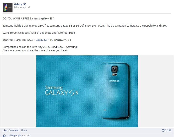 """Watch Out for """"Get a Free Samsung Galaxy S5"""" Scams on Facebook"""