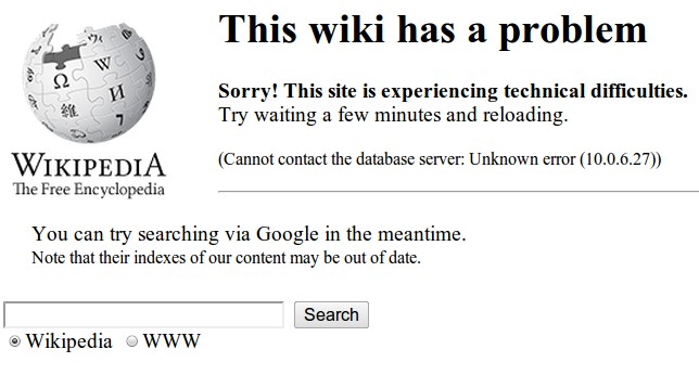 Wikipedia Is Mostly Down Due to Database Problems