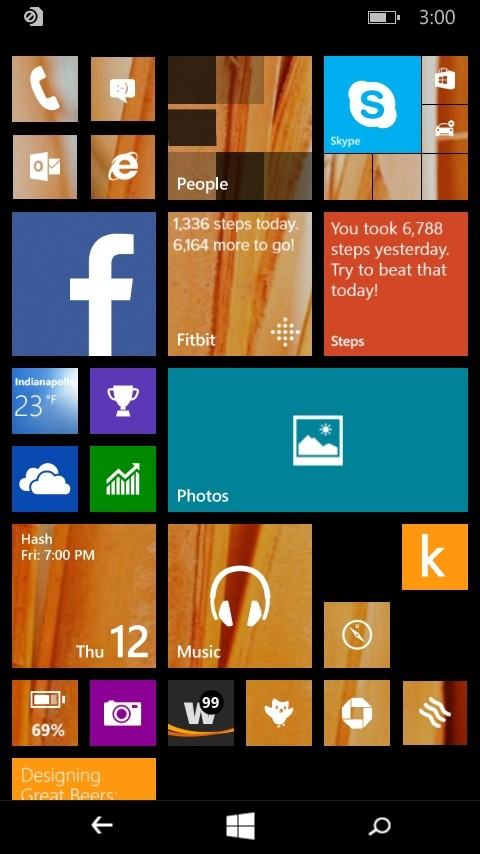 Windows 10 For Phones Home Screen