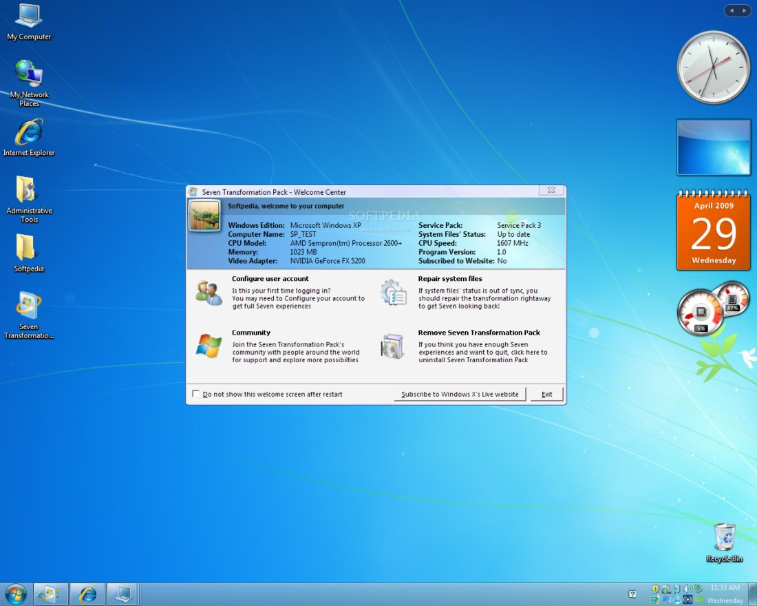 Free windows 7 transformation pack to make windows xp look like.