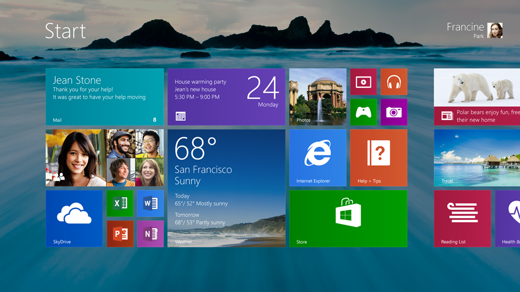 This is the new Windows 8.1 Start screen