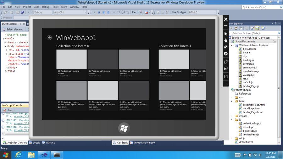 Windows 8 Developer Preview SDK, Visual Studio 11