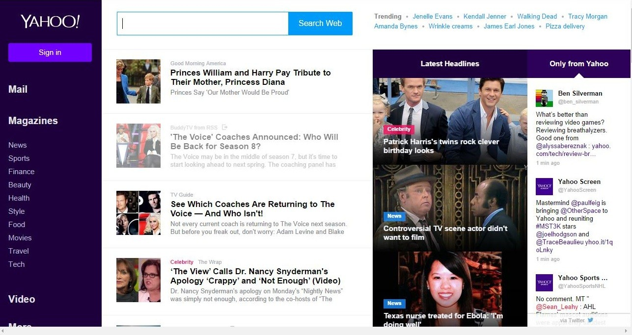 Yahoo Rolls Out New Home Page Design Photos
