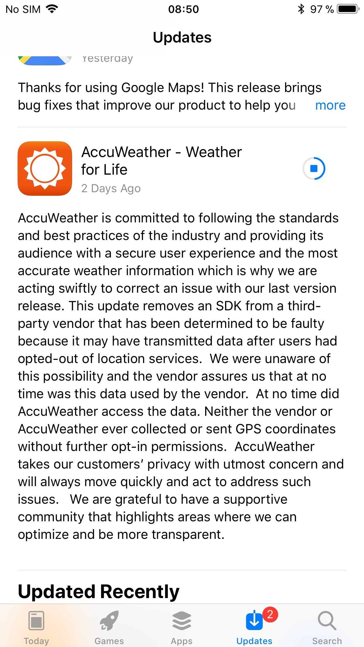 AccuWeather for iOS Caught Collecting Data Even When Users Ask It