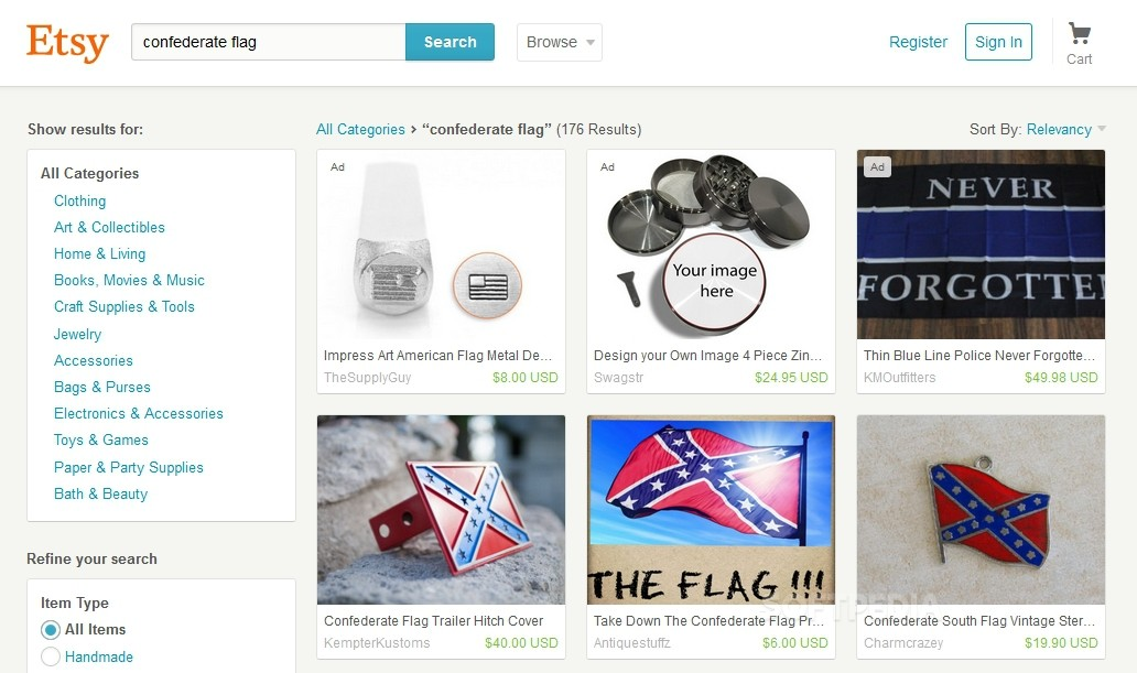Amazon, eBay, and Other Online Retailers Drop Confederate Flags from