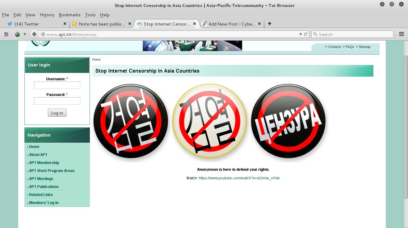 Anonymous Defaces Asia Pacific Telecommunity Website ...