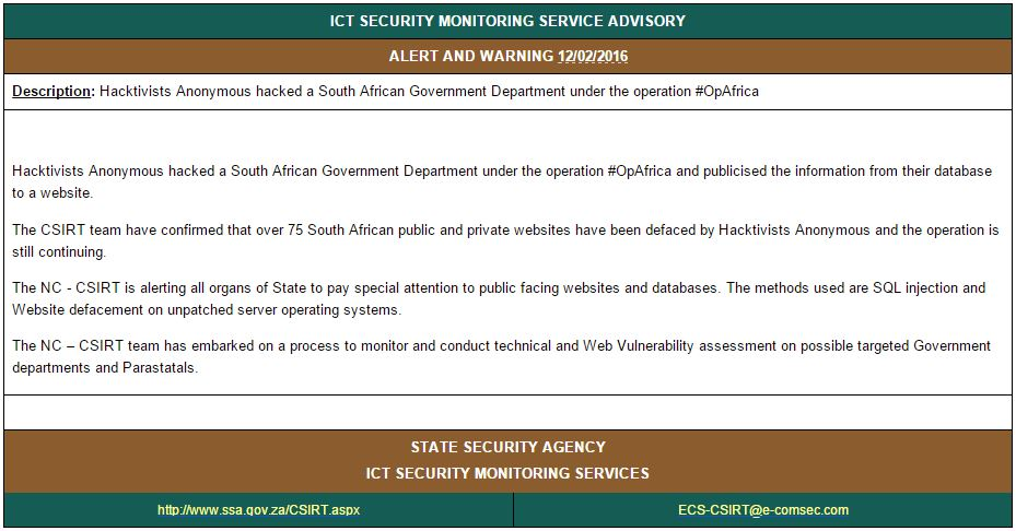 Anonymous Member Goes on a Rampage, Defaces 2,532 South African Websites