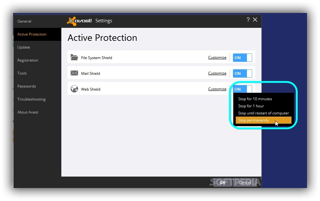 disable avast scanner