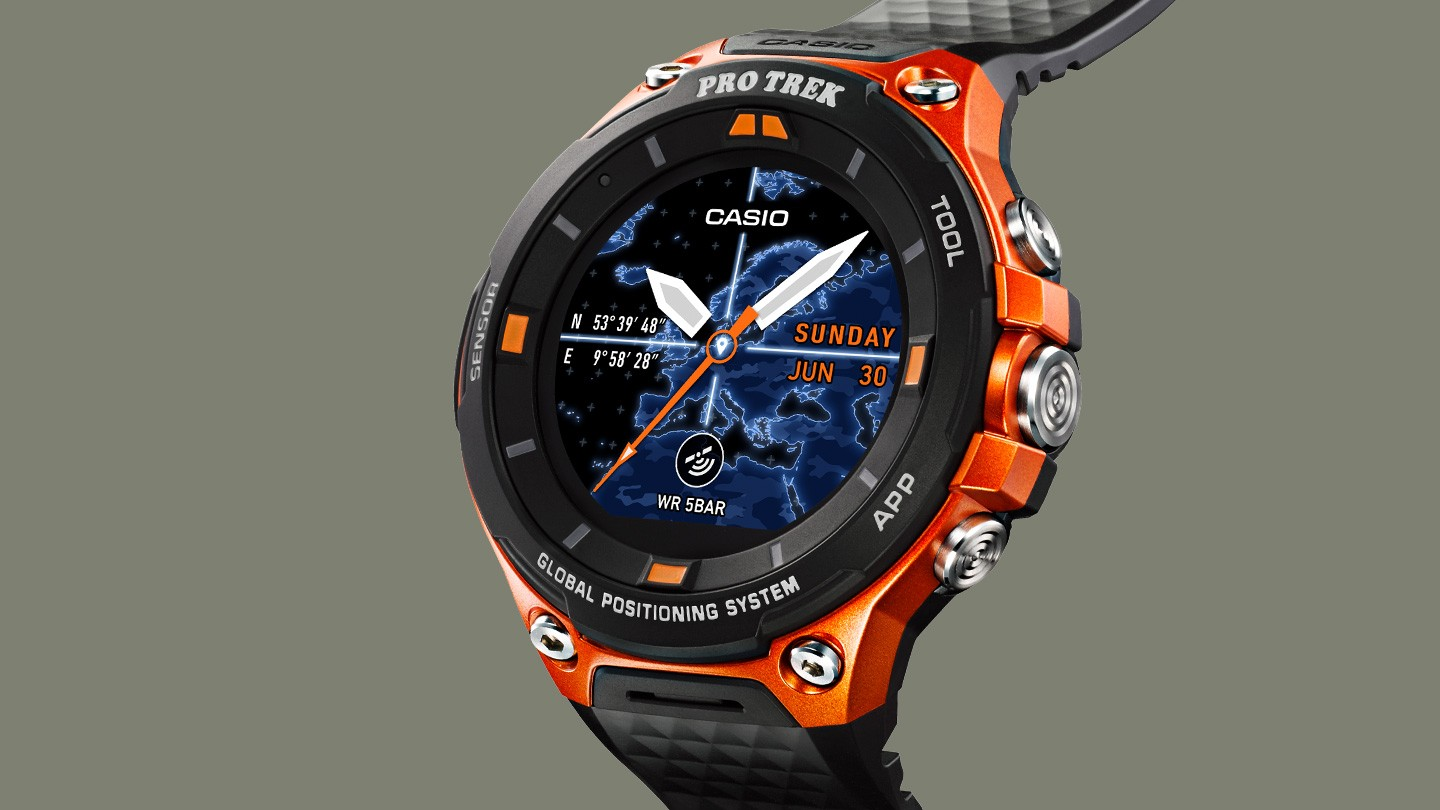 wear hands android and watch casio smartwatch ces sg slashgear huge on rugged rug