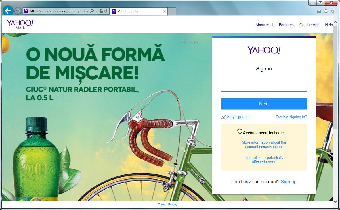 yahoo account security page