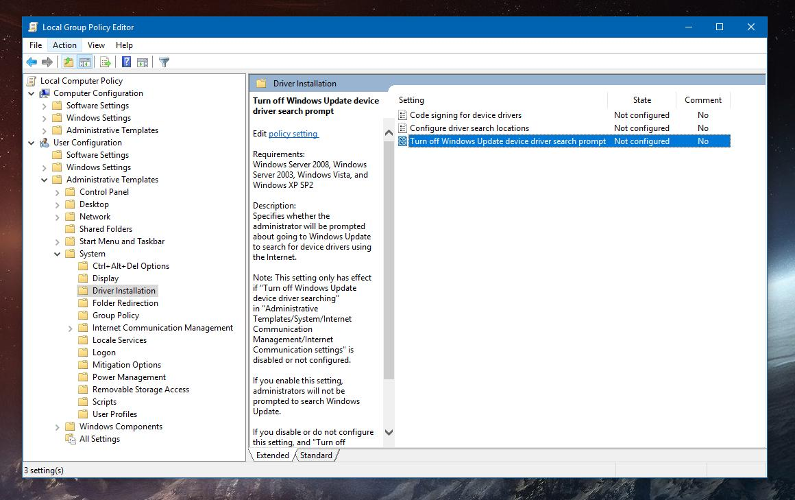 Customize Driver Installation in Windows 10 October 2018 Update