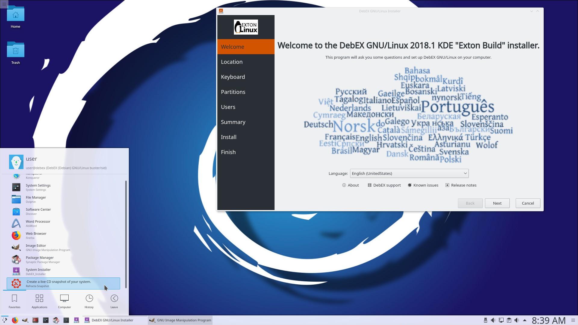 Debian 10-Based Distro DebEX KDE Plasma Now Uses Latest Calamares