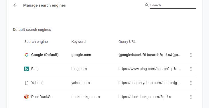 Google Chrome with DuckDuckGo option