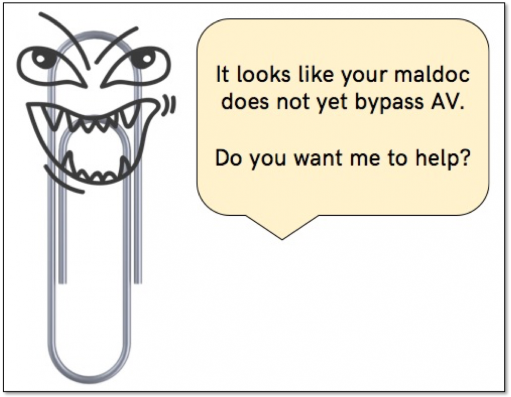 Evil Clippy can skip the antivirus products to infect