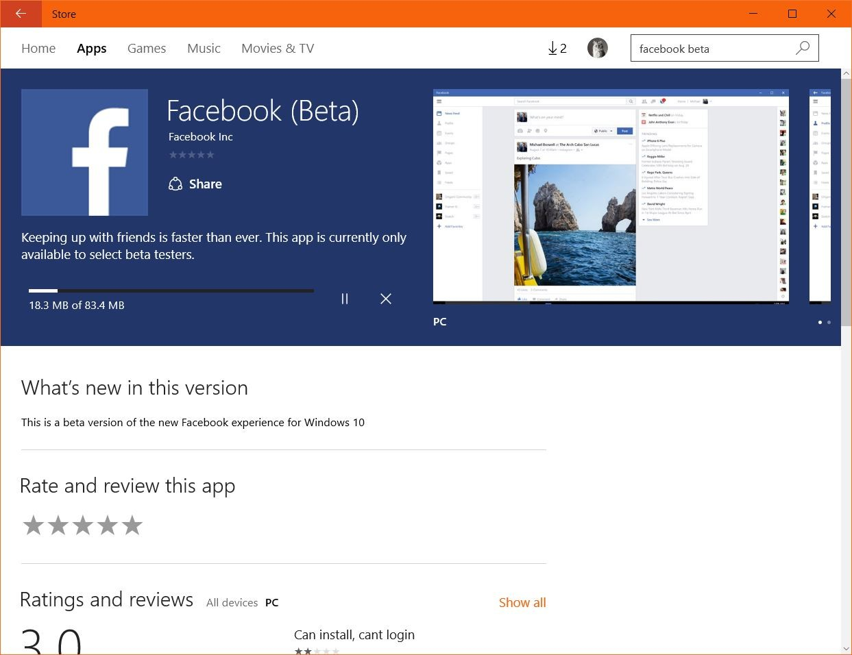 Facebook Beta for Windows 10 Now Available in the Store