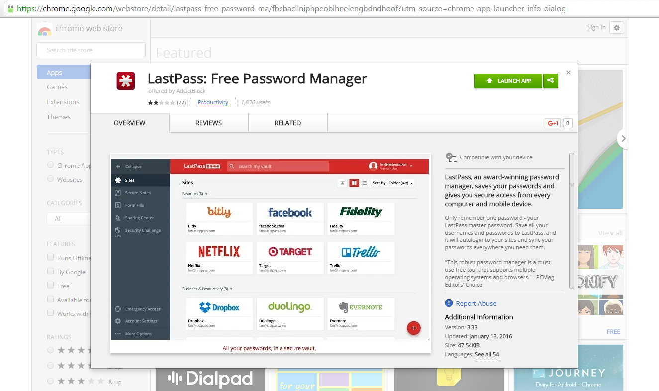 Fake LastPass Chrome Extension Found on the Google Web Store