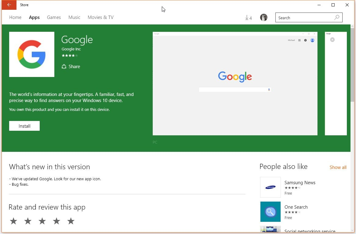 Google App for Windows 10 Finally Updated (with a New Icon)