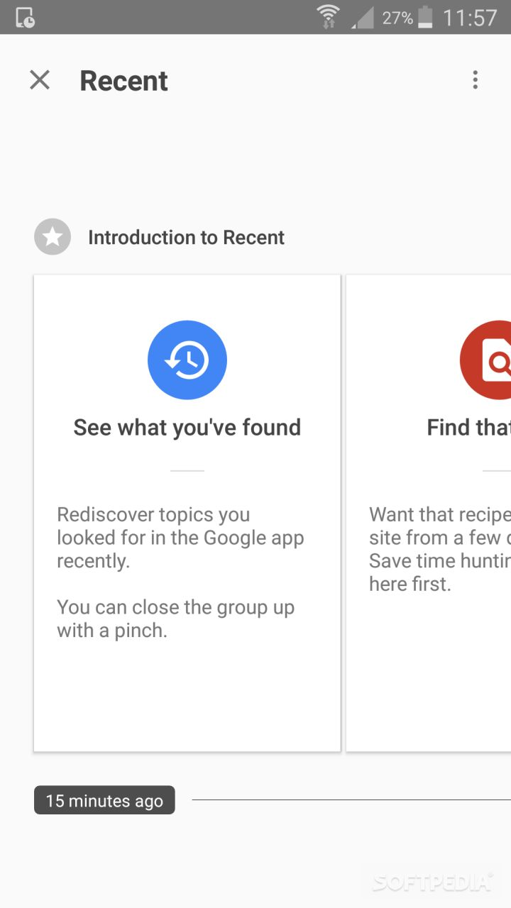 Google App Now Features Recent Search Interface for Browsing