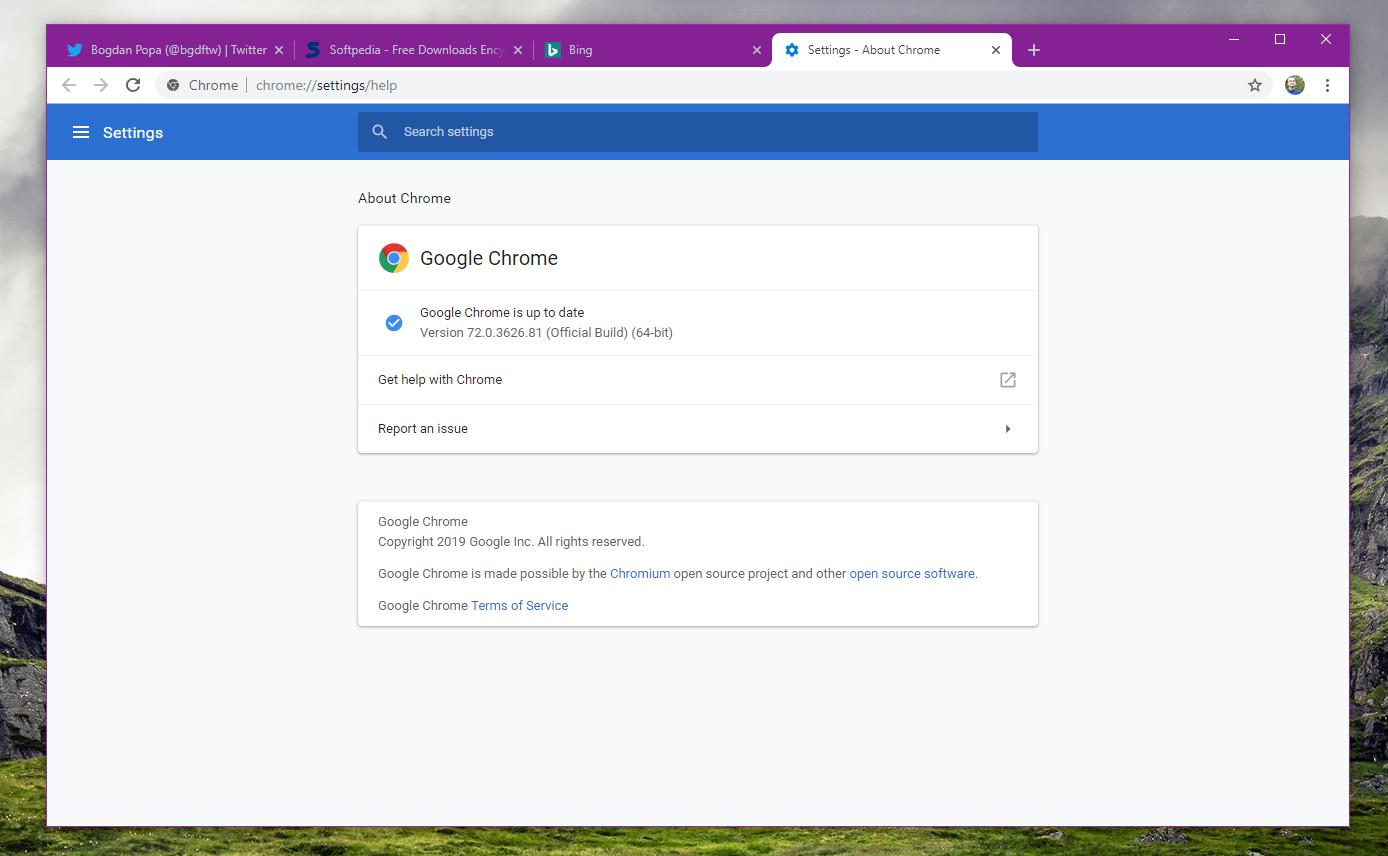 Google Chrome 72 on Windows 10