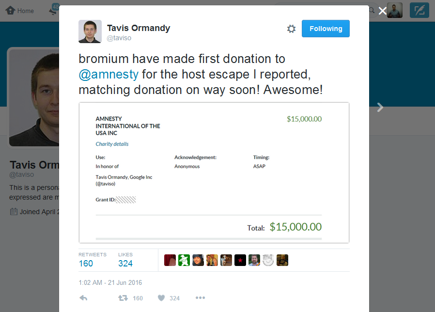 Google Engineer Donates Bug Bounty Reward to Amnesty